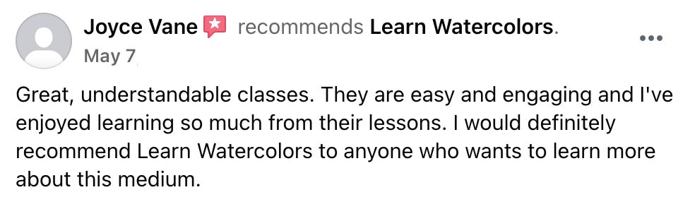 Learn Watercolor Facebook Testimonial